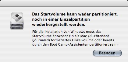 BootCamp - Fehlermeldung