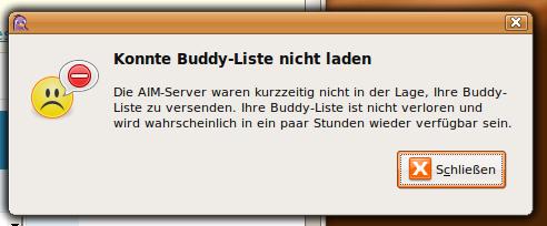 Konnte Buddy-Liste nicht laden