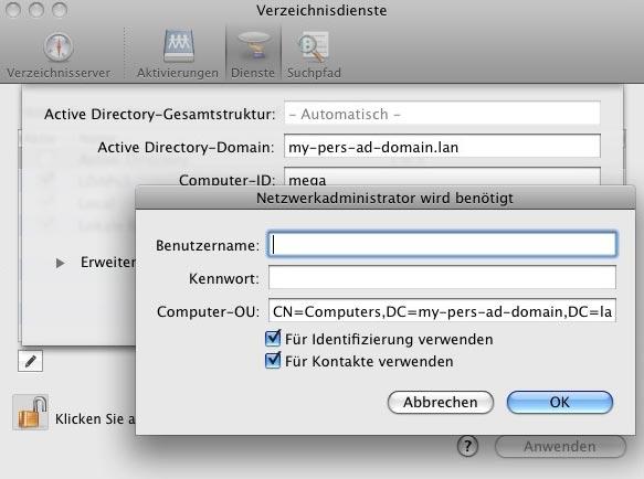Mac-Anbindung an Windows 2008 Server – Mac OS X Verzeichnisdienste