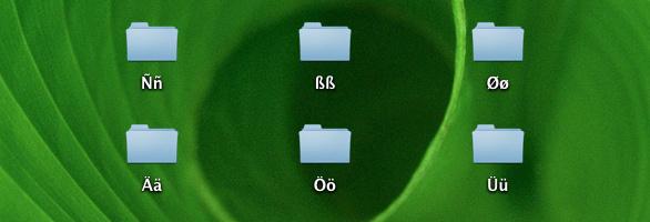 Dateien mit Umlauten auf dem Schreibtisch