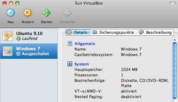 VirtualBox Startbildschirm