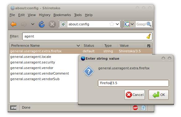 Shiretoko wird in Firefox geändert