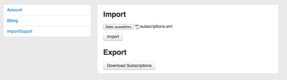 Feedbin XML-Import
