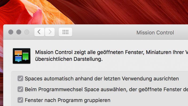 Mission Control unter Mac OS X
