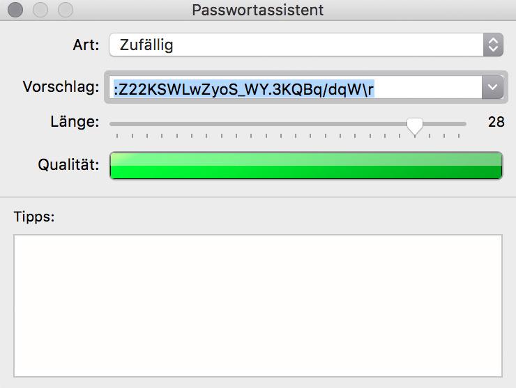 Konfigurationsmöglichkeiten des Passwortgenerators der Schlüsselbundverwaltung