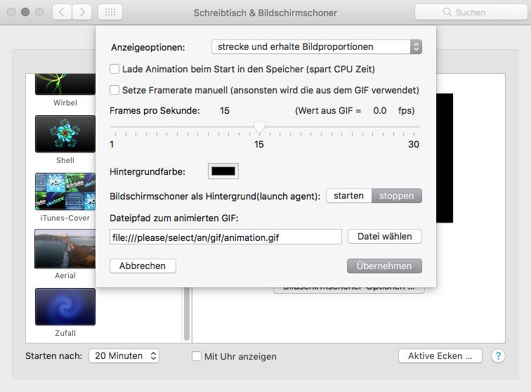 Gif als Bildschirmschoner in macOS – AnimatedGif
