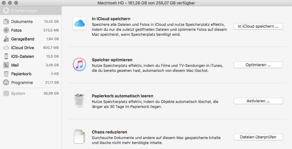 Festplatten verwalten in Mac OS X Sierra