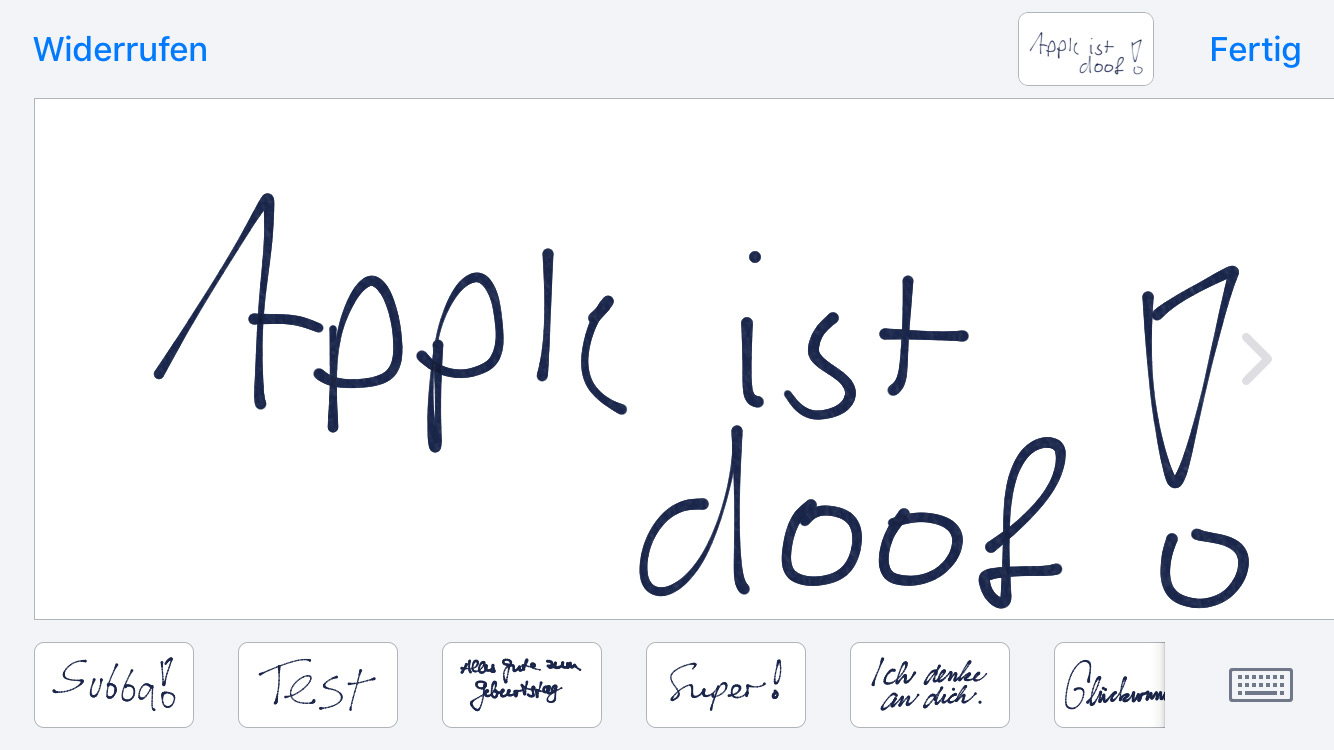 Handwriting-Modus in iMessage