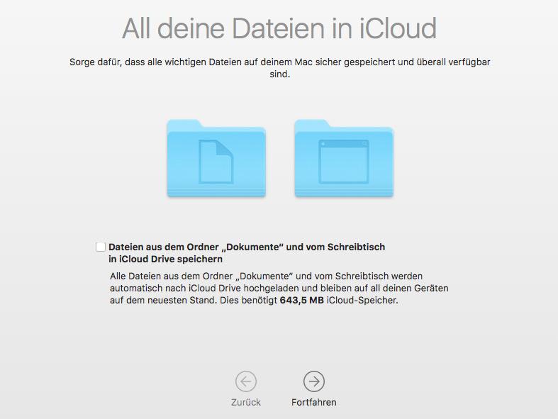 Schreibtisch und Dokumente in die iCloud verschieben