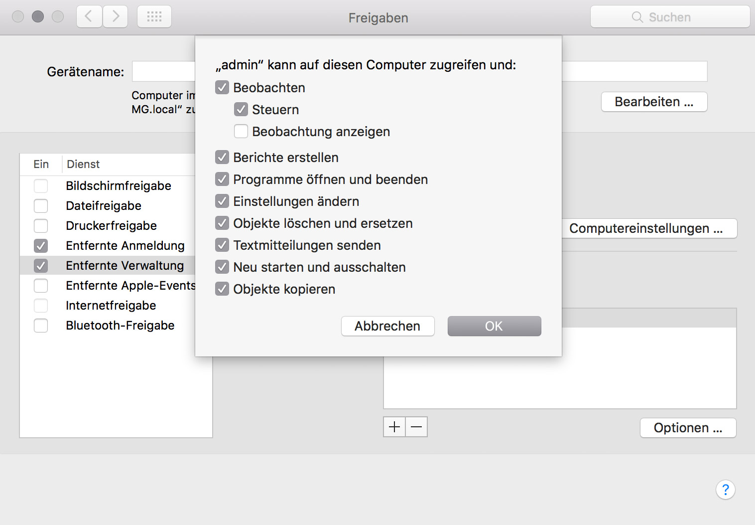 Screenshot der Apple Remote Desktop Einstellungen