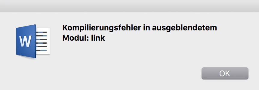 Fehlermeldung Kompilierungsfehler im ausgeblendeten Modul link
