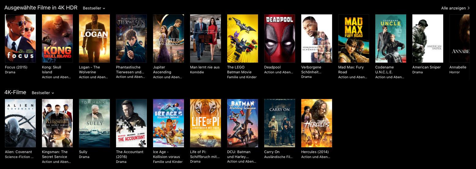 Apple TV 4K– Screenshot aus dem iTunes Store mit 4K- und HDR-Filmen
