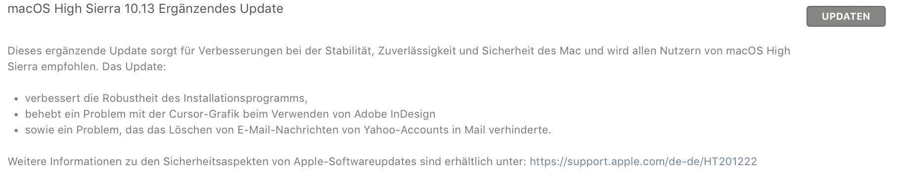 macOS High Sierra Update Bugfix InDesign