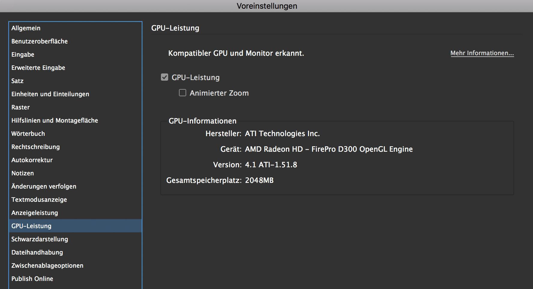 Kein cursor in InDesign – Eventuell helfen die GPU-Einstellungen