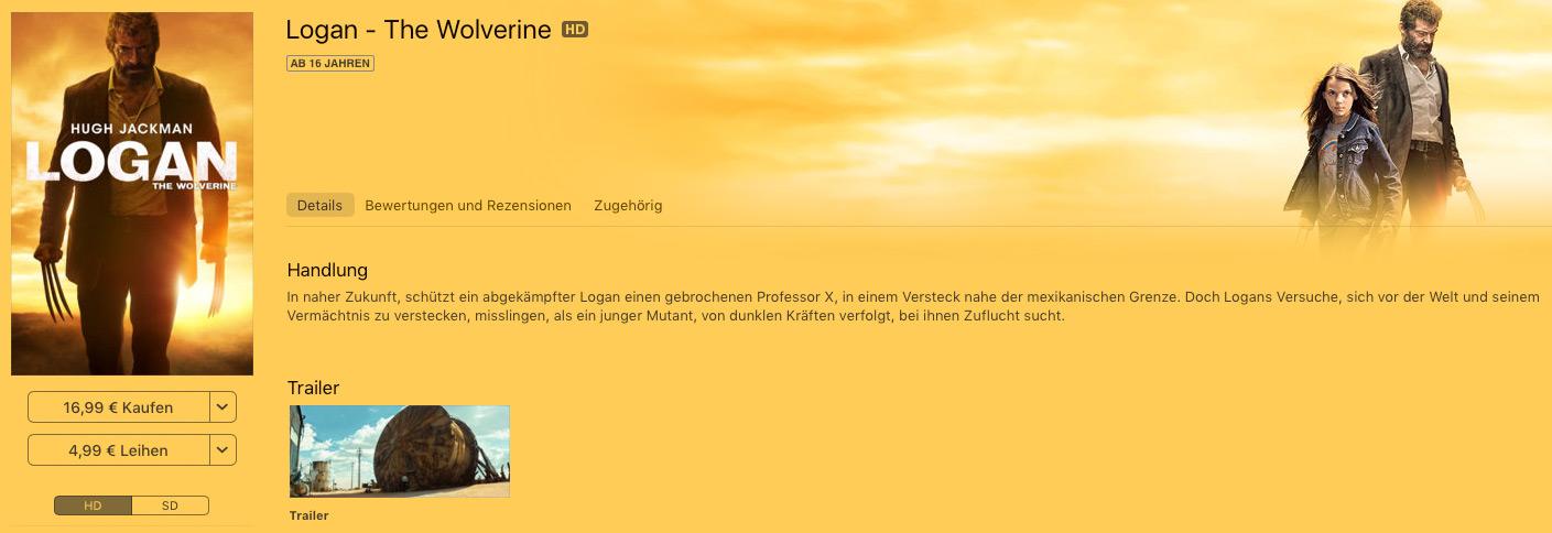 Screenshot Logan im iTunes Store