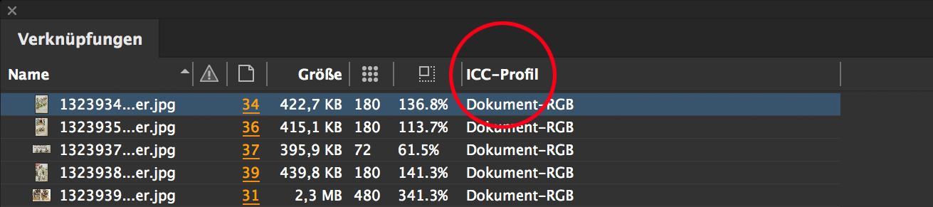 ICC-Profil in der Verknüpfungspalette anzeigen lassen