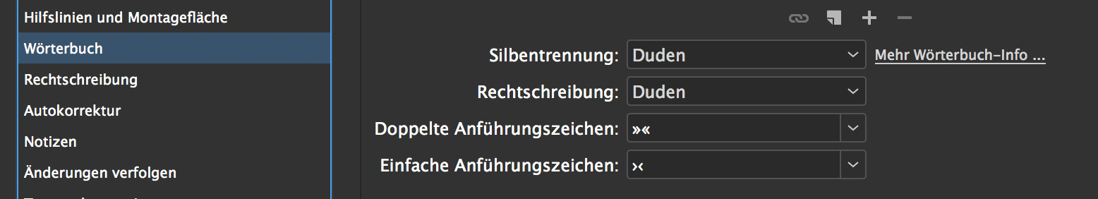 Duden-Integration in InDesign CC 2018
