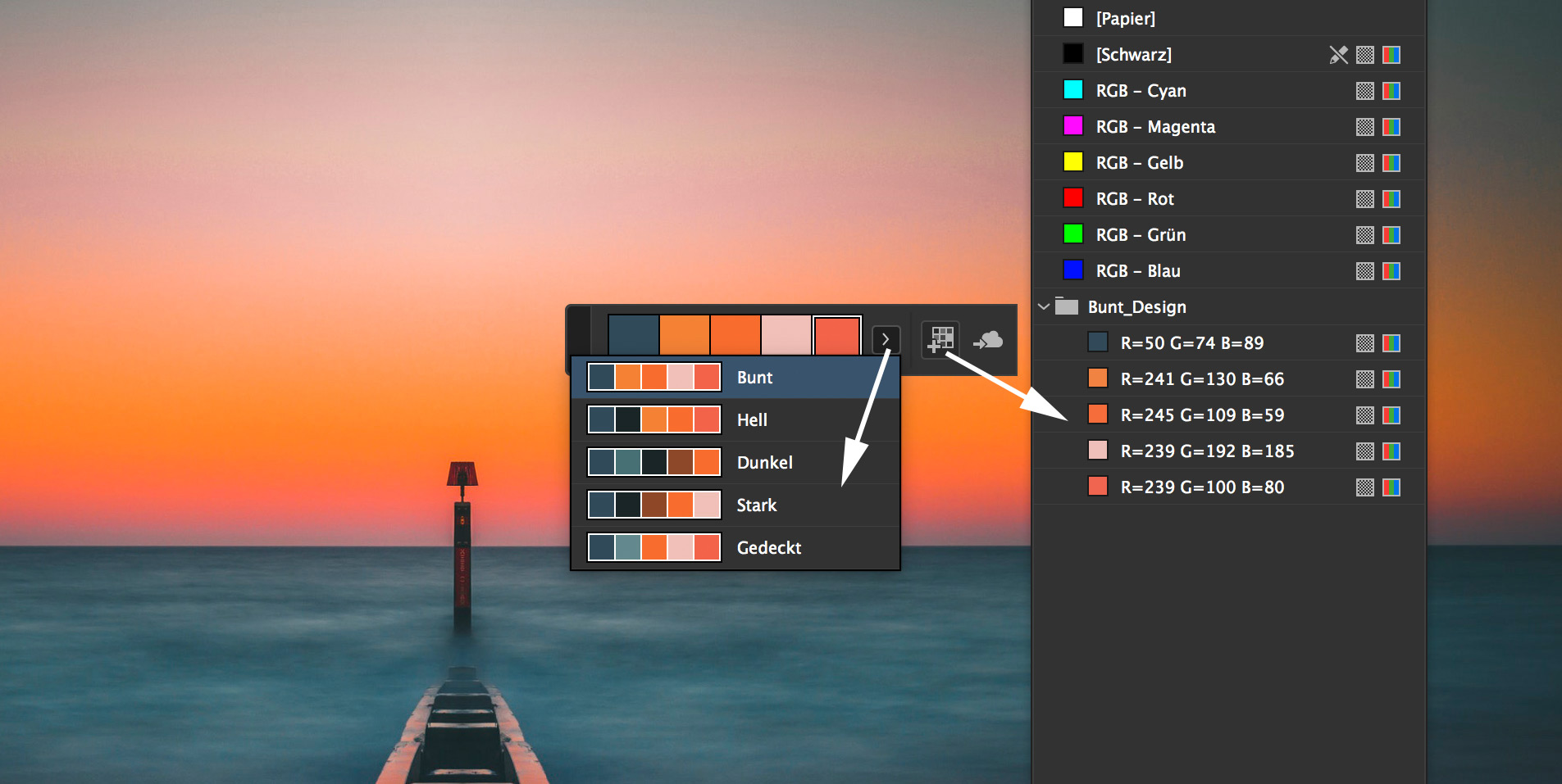 Farbeinstellung und Farbfeldpalette in InDesign CC