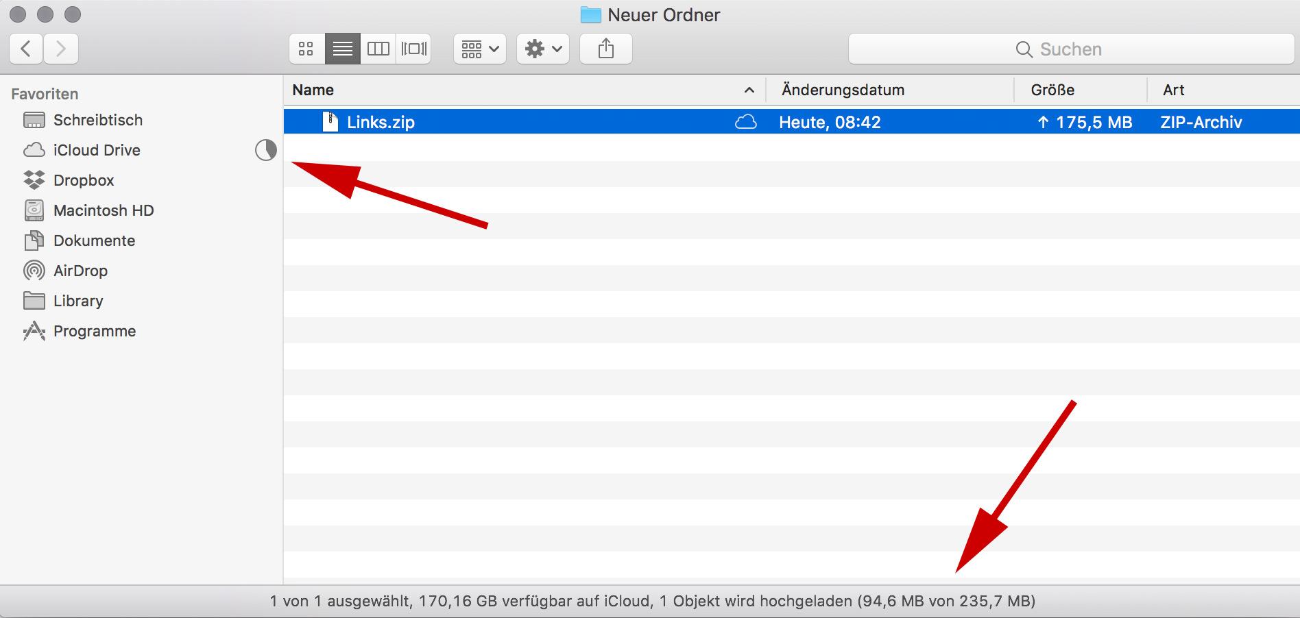 Fortschritt von iCloud Uploads anzeigen lassen
