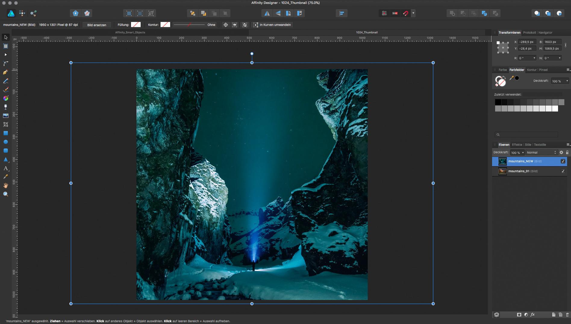 Affinity Designer – Neue Datei für »Smart Objects«